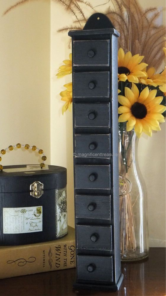 PRIMITIVE AMERICANA COUNTRY TALL WOOD SPICE BOX RACK APOTHECARY CABINET  BLACK #PrimitiveDesign