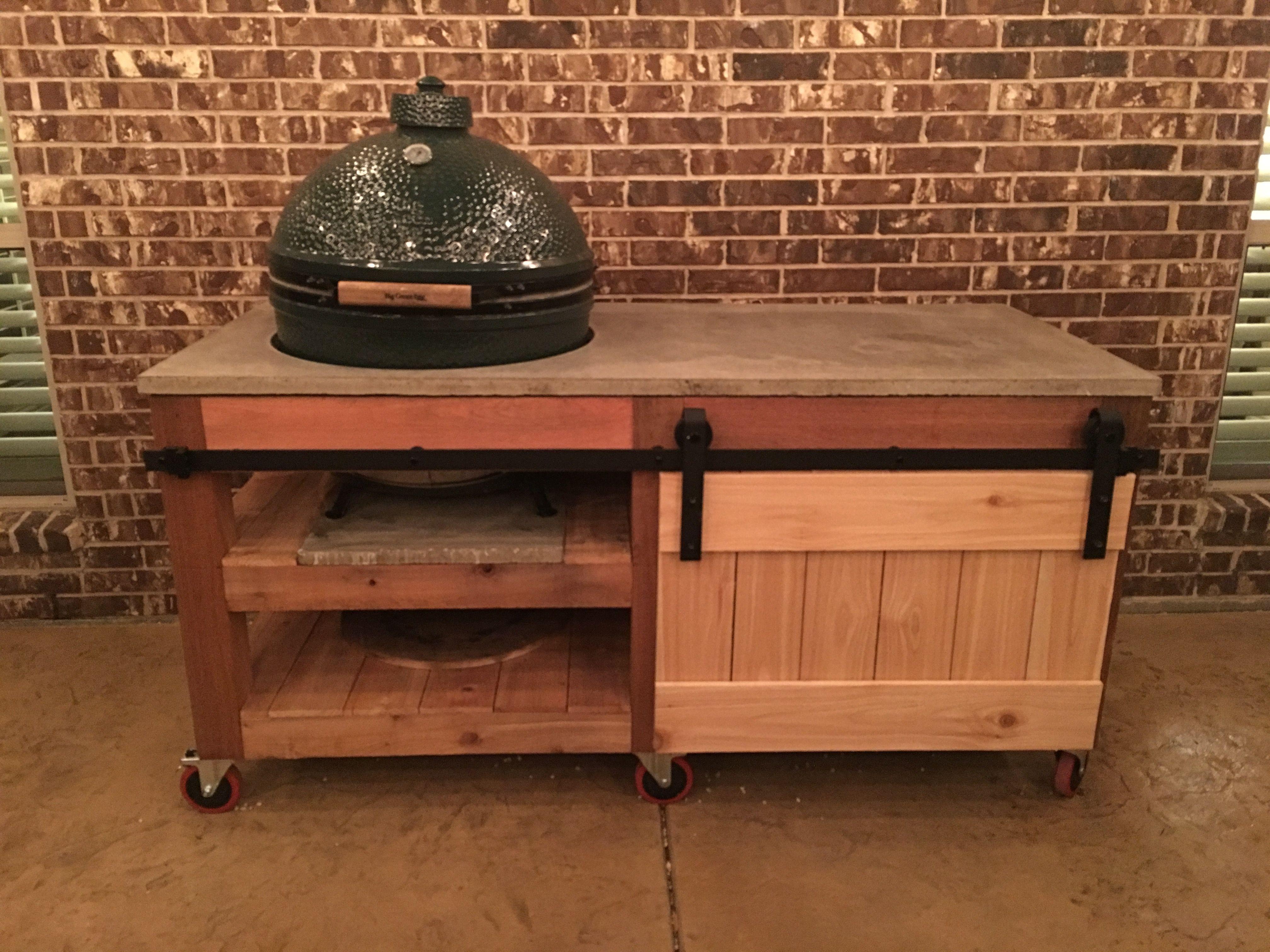 My XL Big Green Egg Table. Concrete Countertop. Barndoor Compartment.