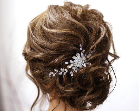 Wedding hair comb Bridal hair piece Wedding Flower hair comb Crystal wedding headpiece Bridal hairpiece Wedding hair combs Something blue #bridalhairflowers