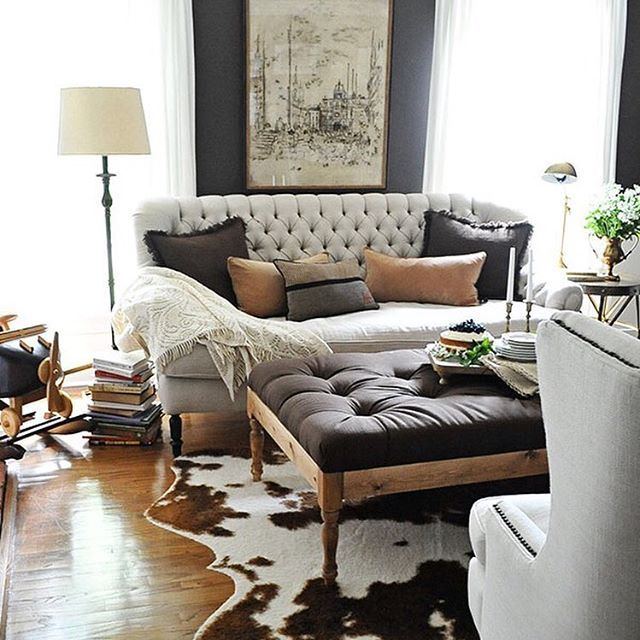 Perfect Living Room Layers Living Room Designs, Tufted Couch, Tufted Ottoman Coffee  Table, Cowhide