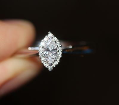 14k White Gold Marquise Diamond Solitaire Halo Vintage Wedding Engagement  Ring | EBay