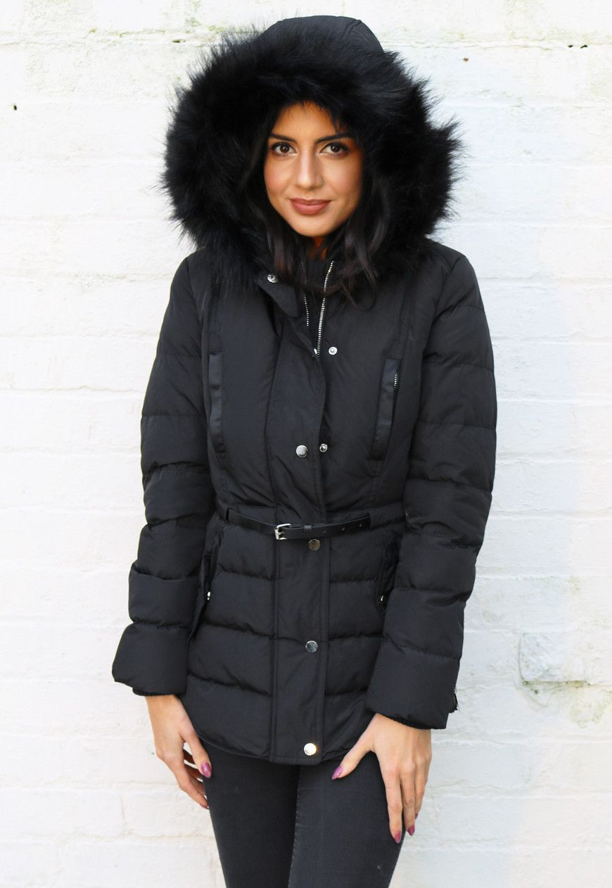 a56bd2da1fd Penny Padded Belted Hooded Puffer Anorak Coat with Fur Trim in Black - One  Nation Clothing - One Nation Clothing - 1
