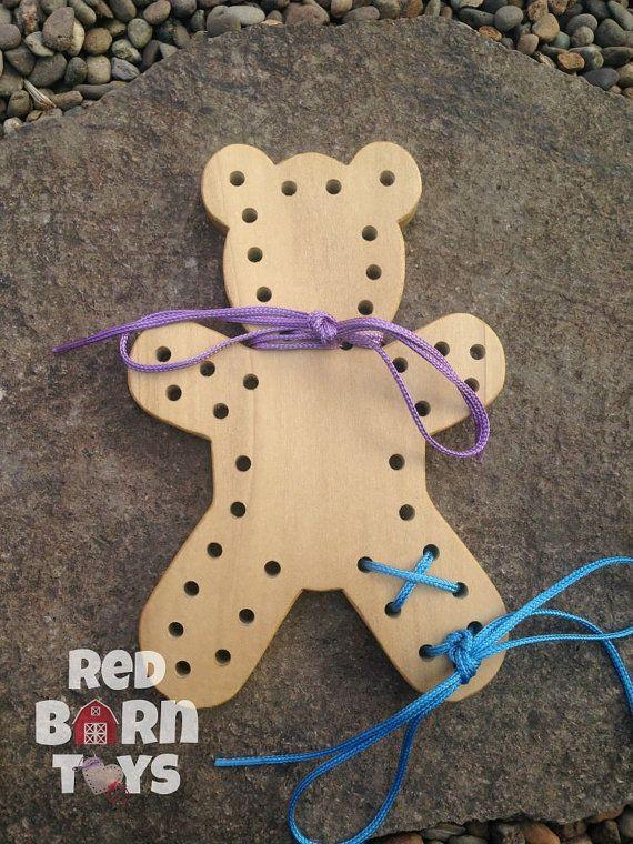 Threading Lacing Board Montessori Baby Wooden Animal Shape Toys Development 6A