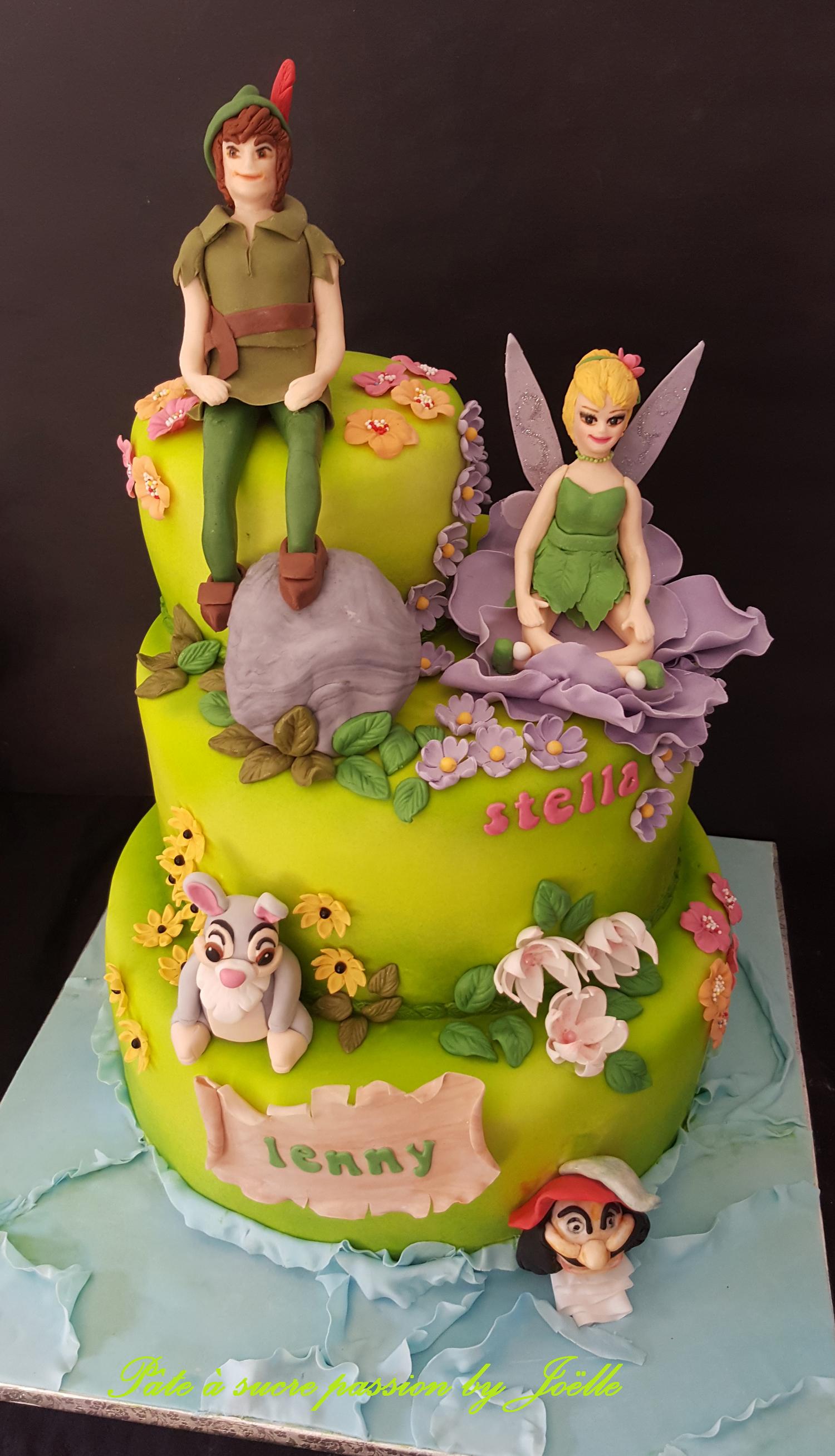 Peachy Peter Pan And Tinkerbell Cake Tinkerbell Cake Birthday Cake Personalised Birthday Cards Paralily Jamesorg