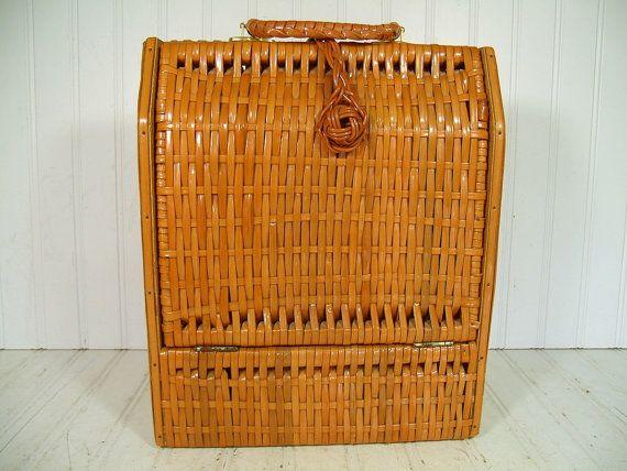 Vintage Wood & Wicker Wine Bottle Carrying Basket