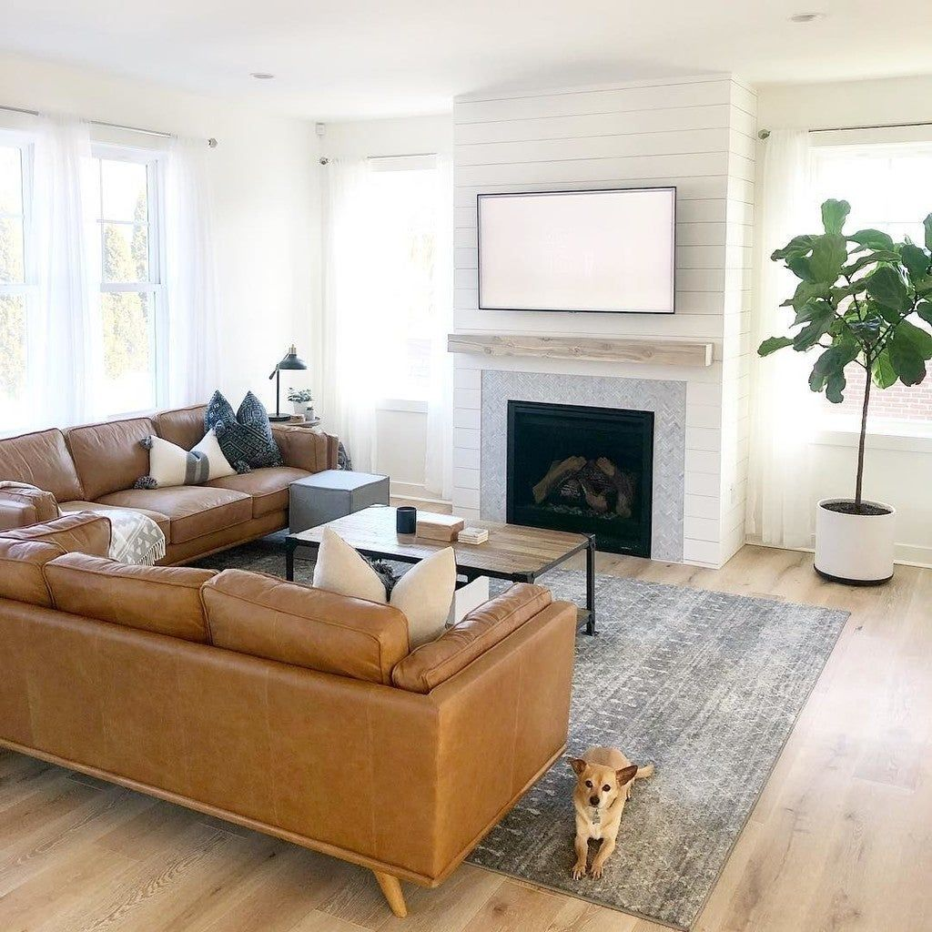60 Mediterranean Home Decor Ideas 2020: Brown Leather Couch Living Room, Living Room Designs