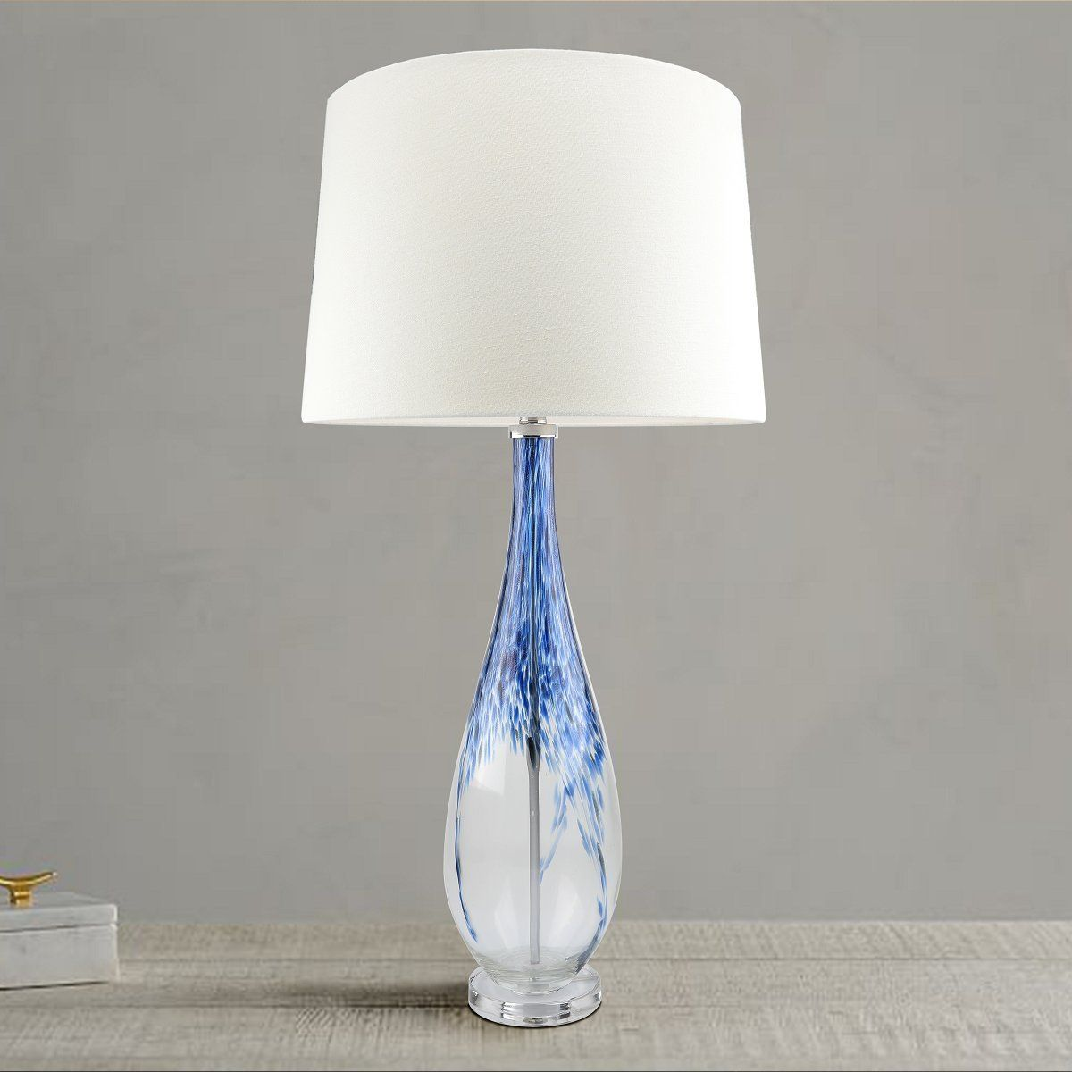 Contemporary Blue Glass Lamp 35 Inch Modern Art Glass Lamps With Ombre Aqua Base Handcrafted Crystal Coastal Lamps For Living Blue Glass Lamp Table Lamp Lamp