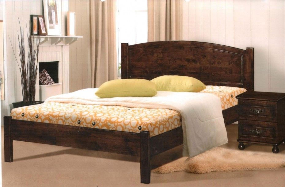 Simple Brown Painted Teak Wood Bed Frame With Square Legs And