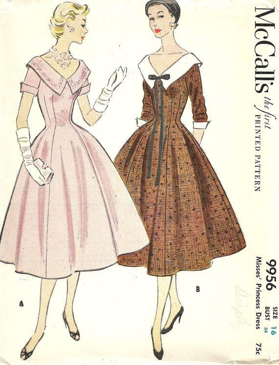 McCall\'s 9956 (1954) | Desenho de moda | Pinterest | Vintage, Mode ...