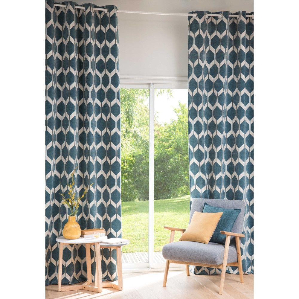 rideau motifs bleu petrole 140x300cm