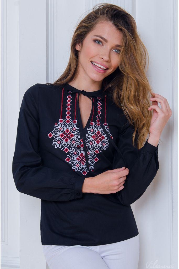 Блуза з вишивкою і пишними рукавами • чорний • інтернет магазин • vilenna.ua bc3e54884c0e8
