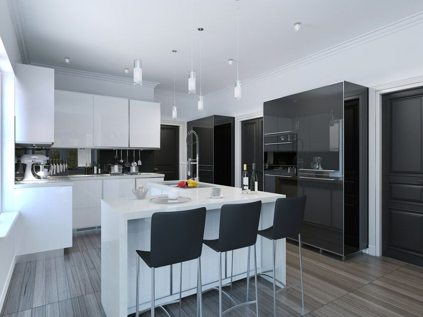 Nice Half White U0026 Half Black Modern Kitchen With Glossy Cabinetry