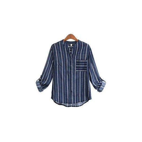 Yoins Plus Size Blue Stripe Shirt-Navy  XL/XXL/3XL/4XL/5XL ($23) ❤ liked on Polyvore featuring tops, plus size long sleeve shirts, blue collared shirt, plus size tops, blue shirt and navy striped shirt