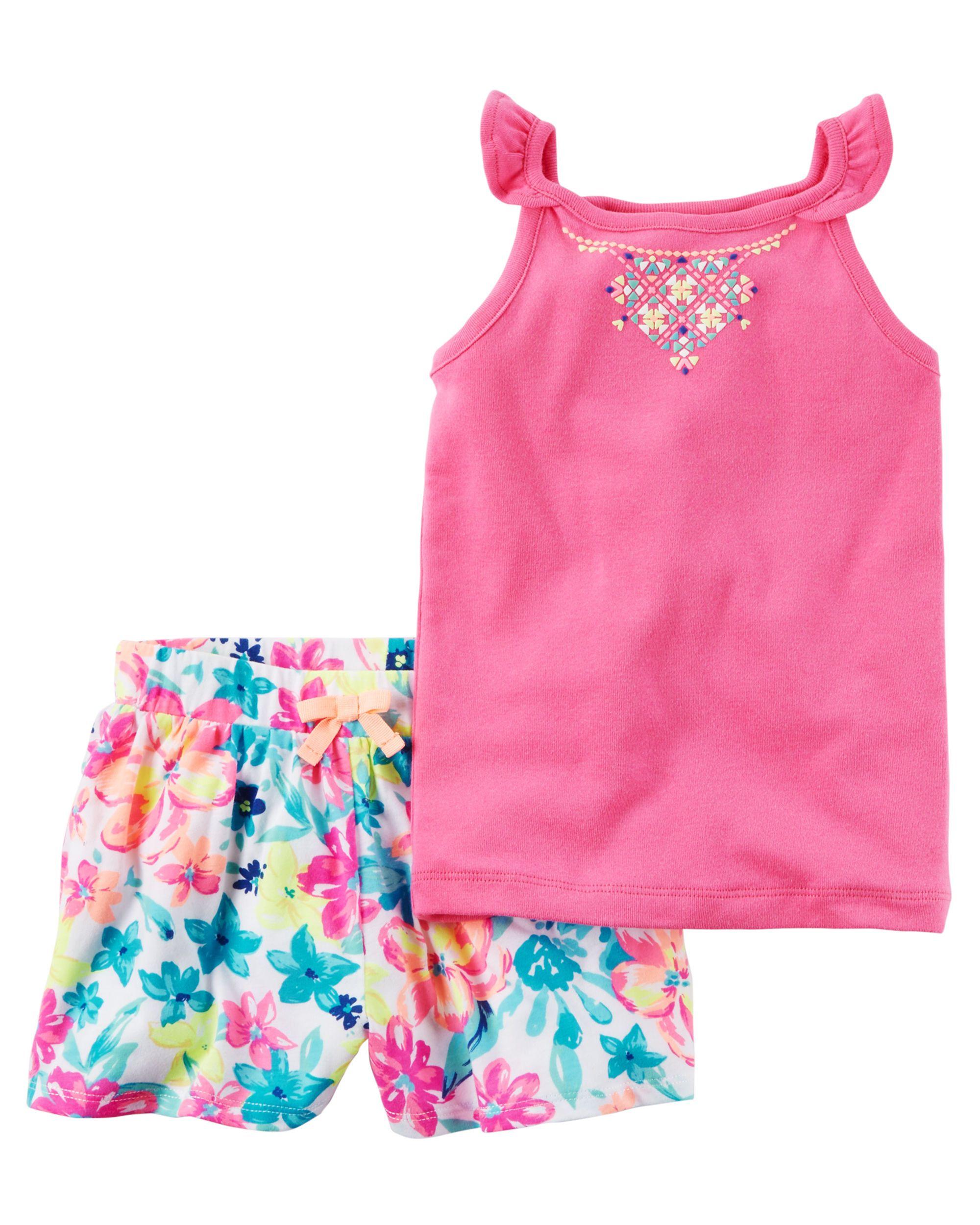 2 Piece Neon Tank & Floral Short Set