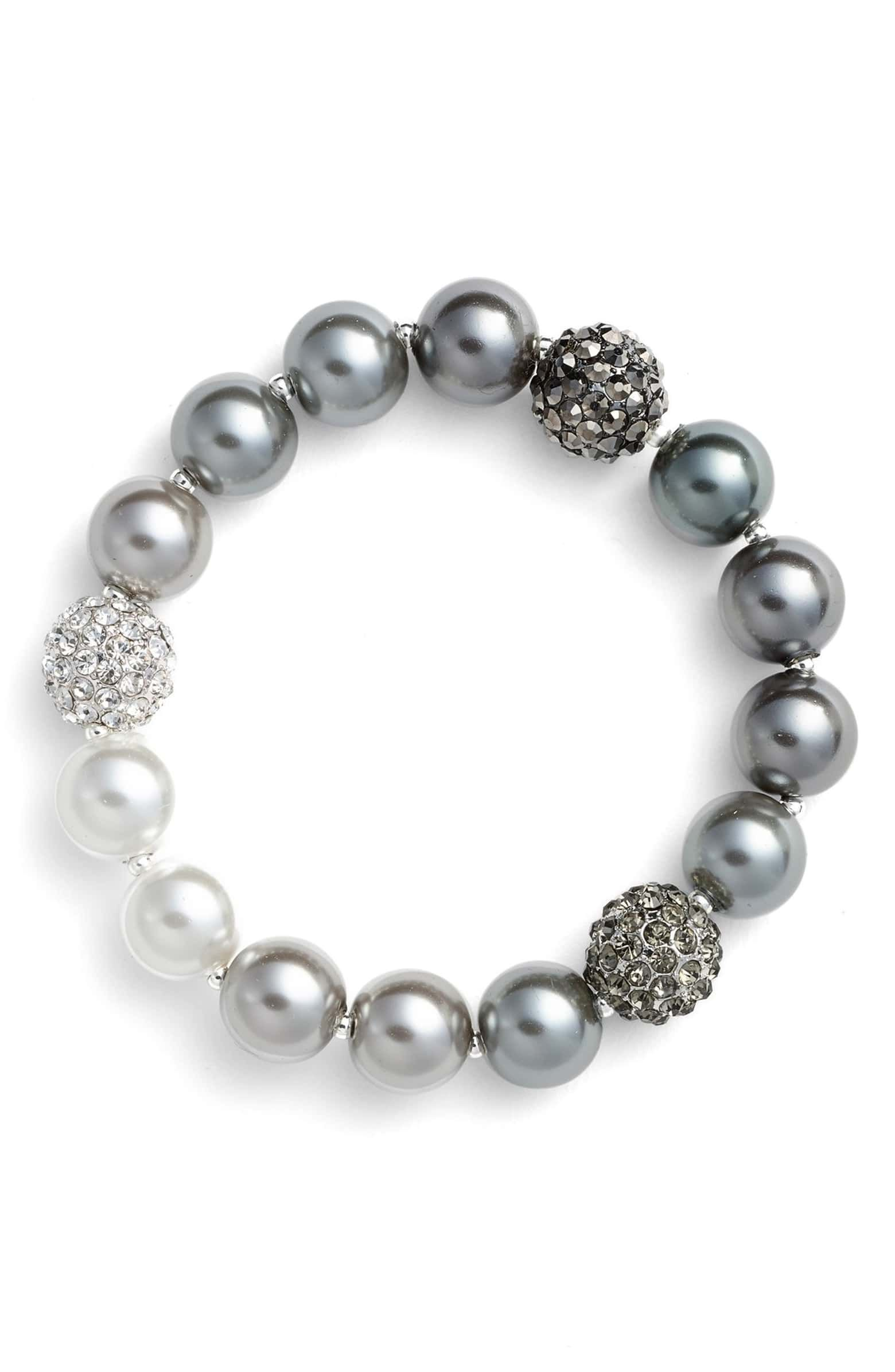 Faux Pearl Stretch Bracelet Main Color 020