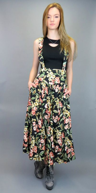 42a507cca2e Vintage 80s 90s Suspender Midi Skirt Black Floral Print High Waisted Long  Overalls Jumper Dress Grunge Romantic Hipster Pinafore Pockets High Waist  Full ...