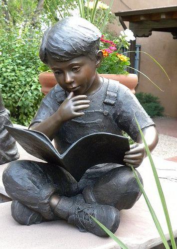 """Bronze Boy Reading"" - photo by Charles Yurchak (Cha Li), via Flickr;  Santa Fe, New Mexico"