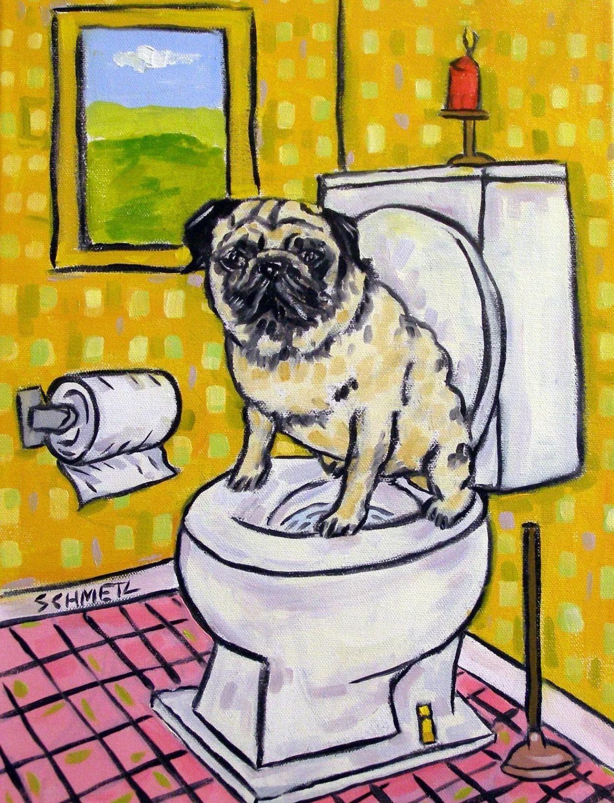 PUG ART PRINT bathrooml 4x6 Dog Poster Pop Art Modern Abstract Folk Art glossy
