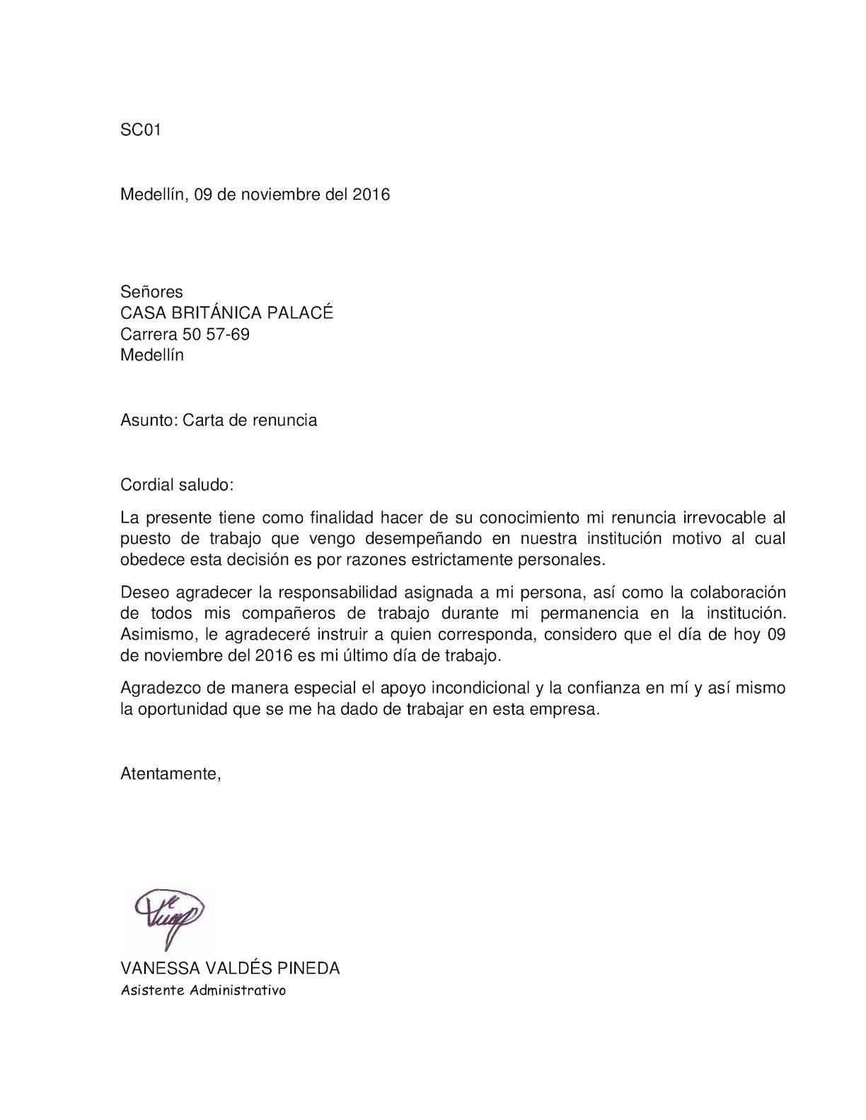 Carta De Renuncia Irrevocable Carta De Renuncia Cartas Puestos De Trabajo Formatos de cartas de renuncias