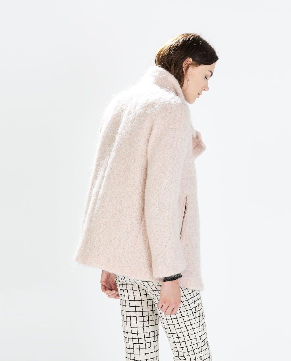 aa7400f0 ZARA - WOMAN - COAT WITH FUNNEL COLLAR | Style | Outerwear women ...
