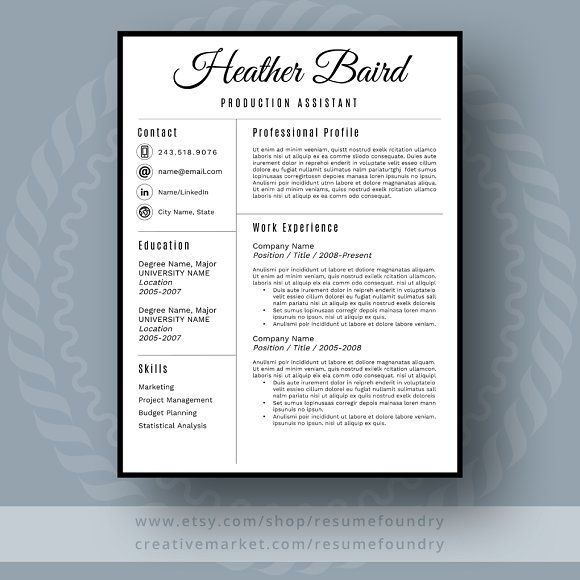 Professional Resume Template by ResumeFoundry on @creativemarket