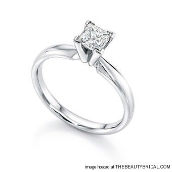 Princess Cut Diamond Engagement Rings 14k white gold ring with