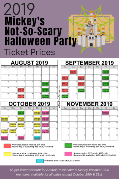 Mickeys Not So Scary Halloween Party 2020 Dates And Prices 2019 Mickeys Not So Scary Halloween Party ticket prices MNSSHP