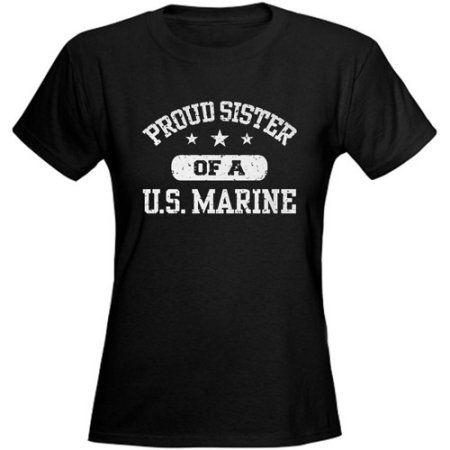 Cafepress Women's Proud Marine Sister Graphic T-Shirt, Size: Small, Black
