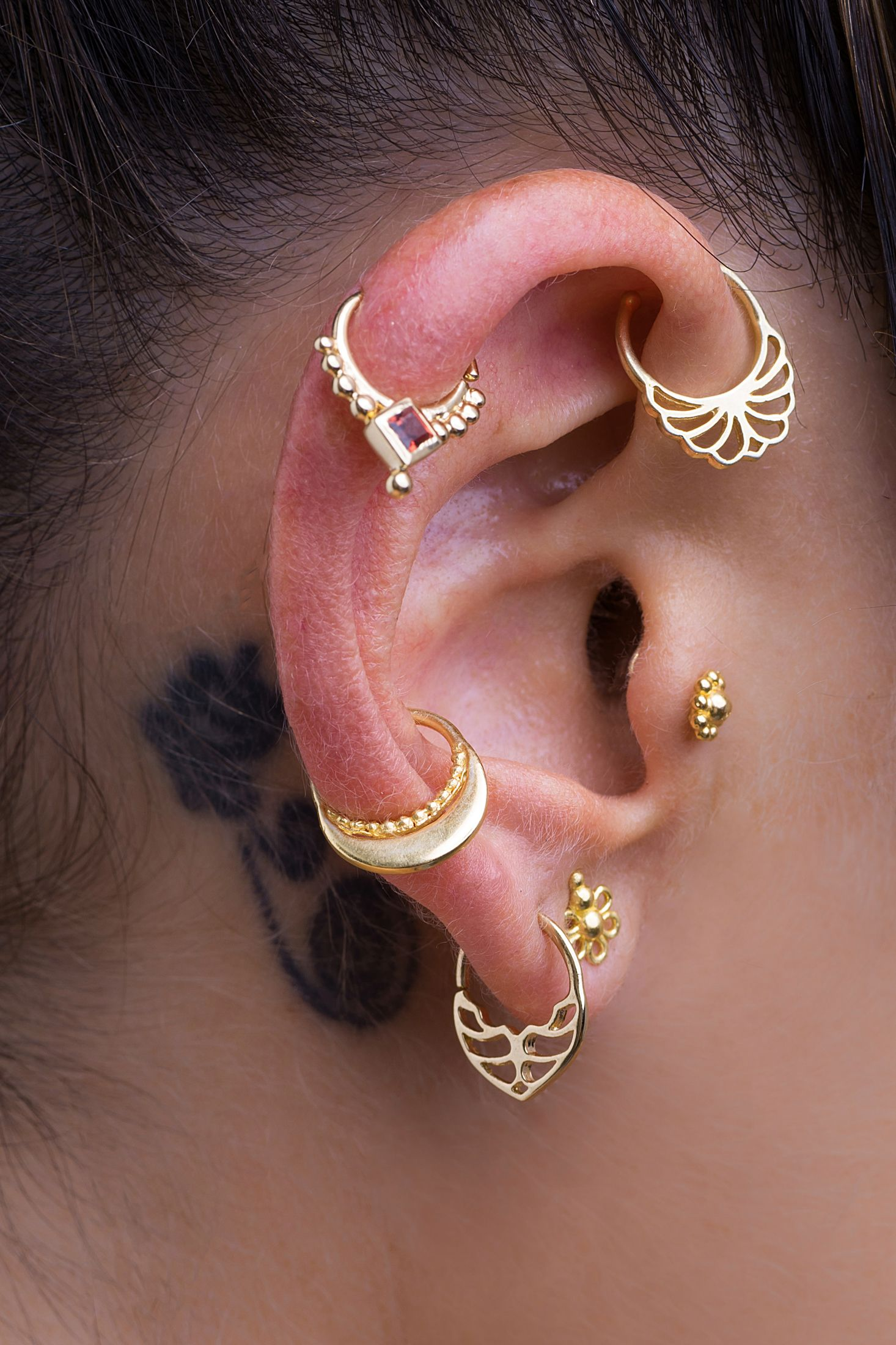 Body Piercing Jewelry Loyal 18k Yellow Gold Over Star Nose Stud Cartilage Earring Helix Stud Piercing Tragus