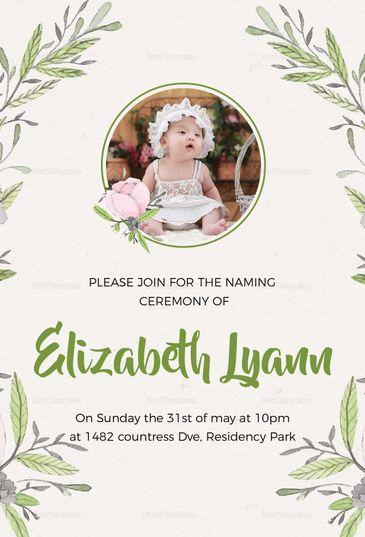 Heartfelt Baby Naming Ceremony Invitation Template  Invitation