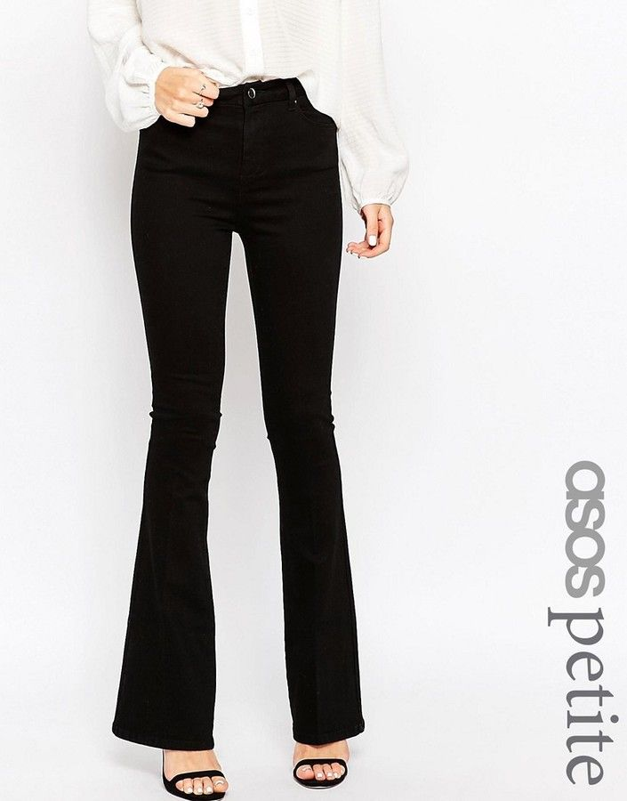79e7abd7f ASOS Petite ASOS PETITE Bell Flare Jeans in Clean Black with Pressed Crease