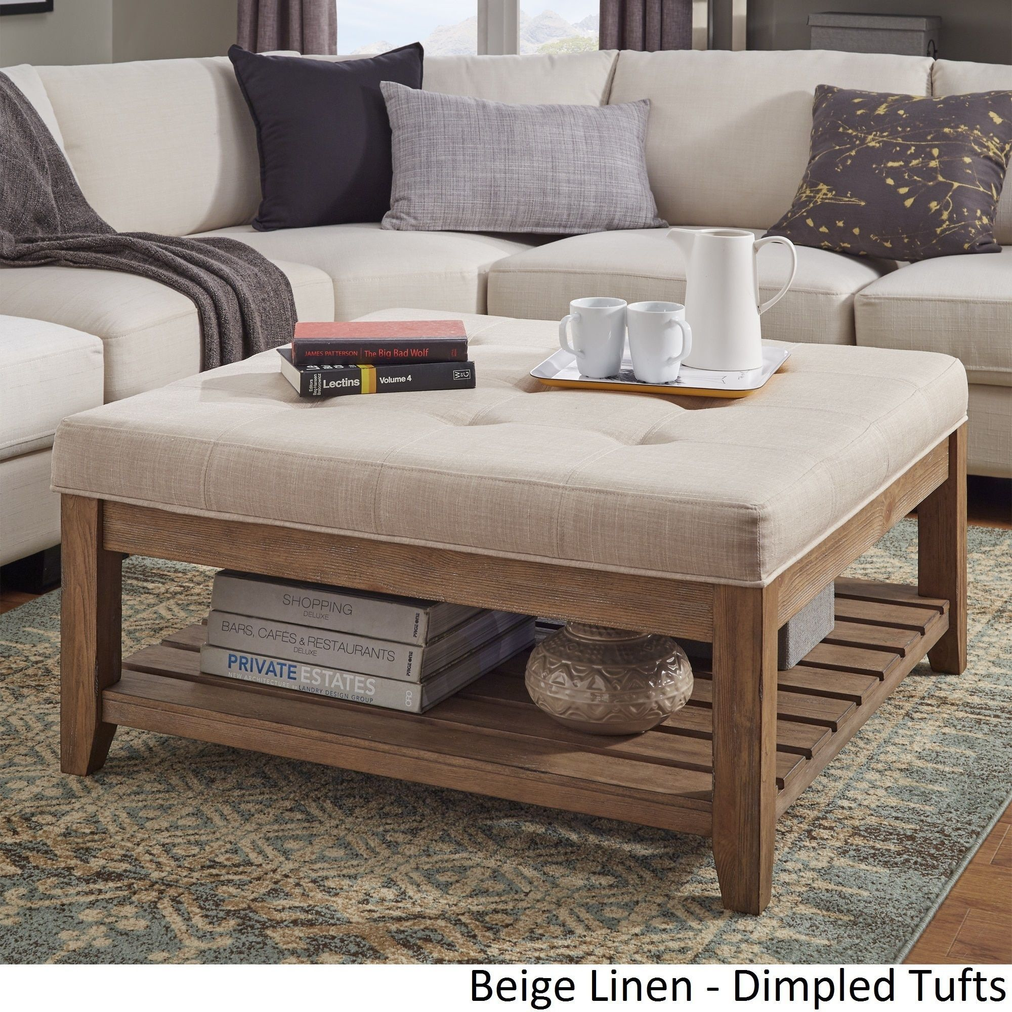 Lennon Pine Planked Storage Ottoman Coffee Table By Tribecca Home