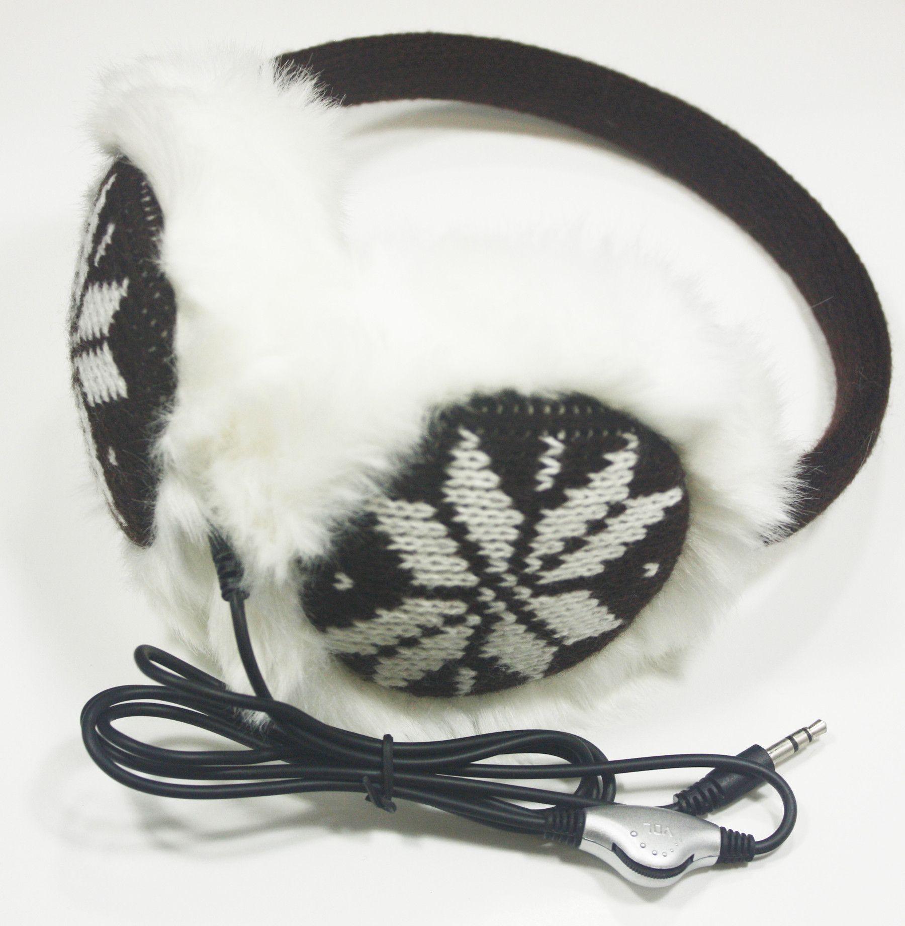 Brown Snow Flakes Headphone Ear Warmer Earmuffs