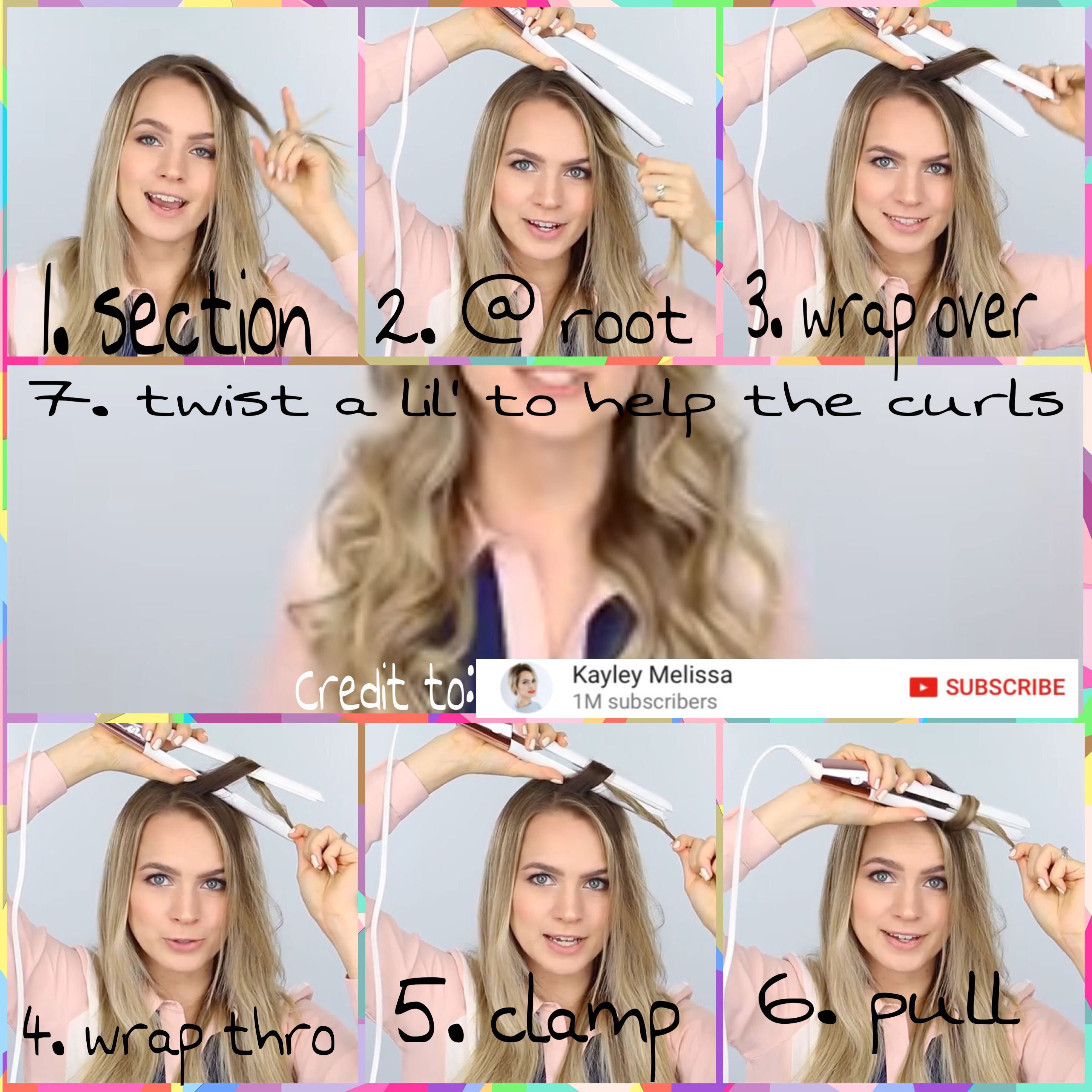 Flat Iron Waves Or Curls Step By Step Credit To Kayley Melissa On Youtube Https Youtu Be Ubhblqyrwrw Flat Iron Curls Flat Iron Hair Styles Short Hair Diy