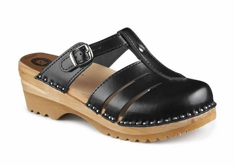 dc592f76b88f Troentorp Bastad Swedish Wooden Clogs - Mary Jane Black - Made In Sweden