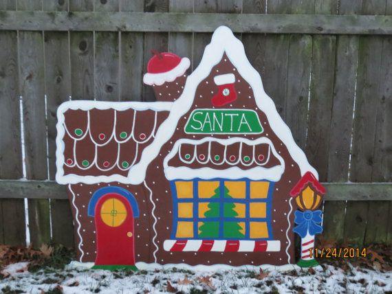 Christmas Santa's Gingerbread House Wood Outdoor Village Piece ...