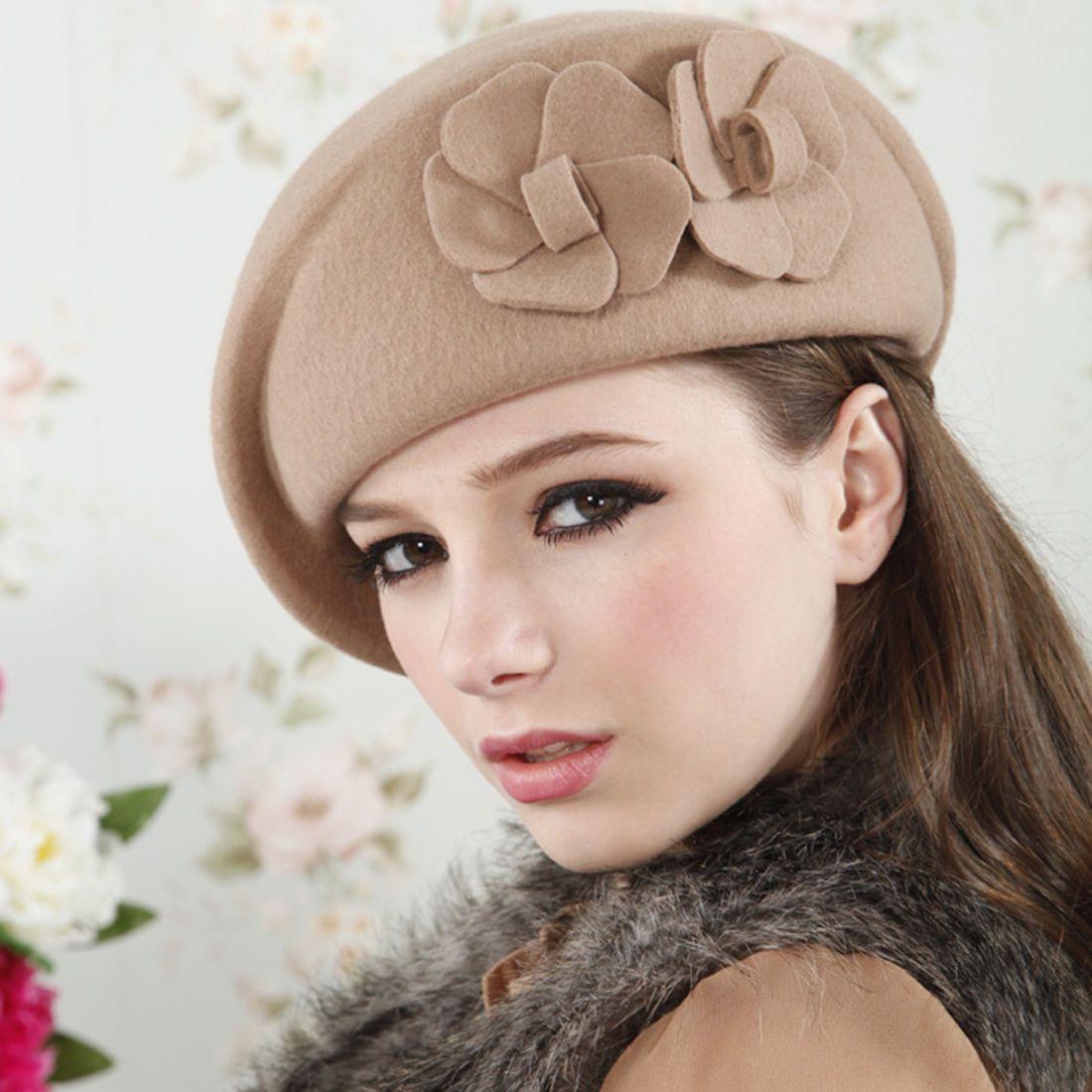 764448c164cfb Vintage Wool Womens Beret Beanie Church Dress Hat Cadet Elegant Winter Hat  Gifts