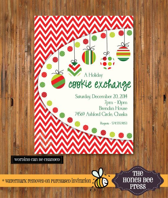 Hanging Ornament Cookie Exchange Christmas Party Invitation