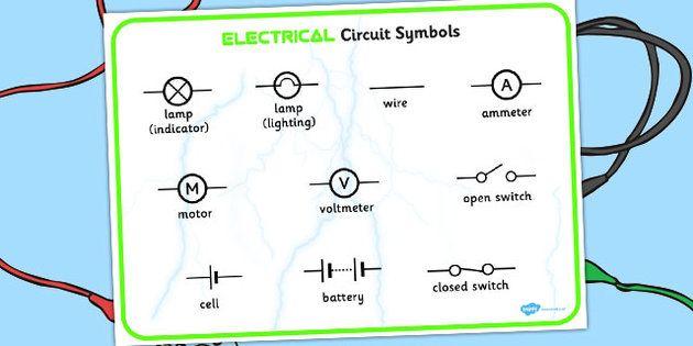 Electricity Circuit Symbols Word Mat electricity circuit symbols