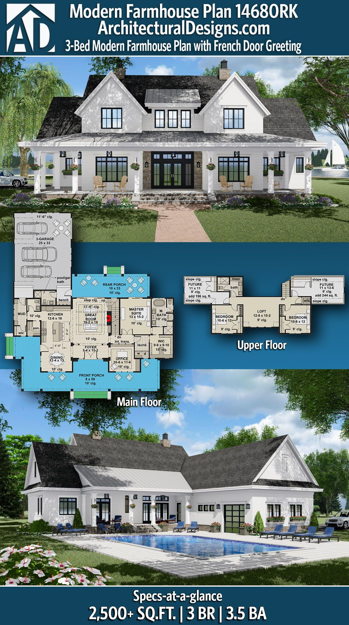 Plan 14680rk 3 Bed Modern Farmhouse Plan With French Door Greeting Modern Farmhouse Plans Farmhouse Plans House Plans Farmhouse