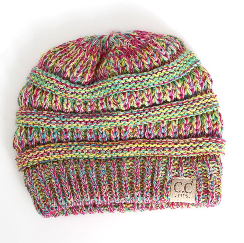 05fb222c7b6 C.C. Beanie Marled Cable Knit Beanie for Kids in Candy YJ816-KIDS ...