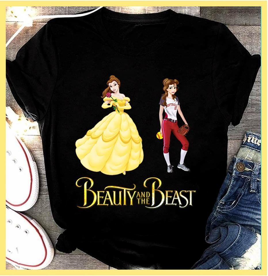 Beauty and the beast softball nursing shirts t shirts