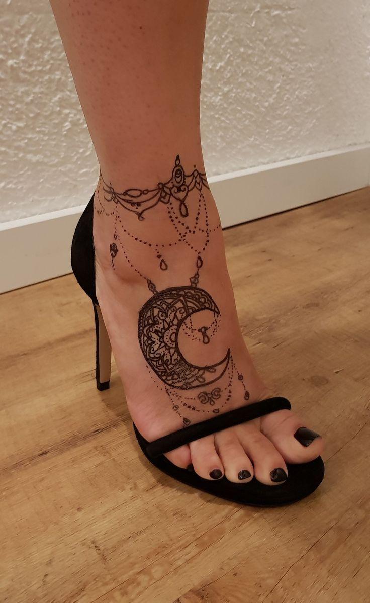 Tattoo Ankle Foot Mandala Moon Foot Tattoo Anklet Tattoos Ankle Bracelet Tattoo