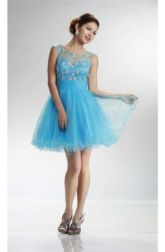 Illusion Neckline Open Back Short Sky Blue Tulle Beaded Prom Dress ...