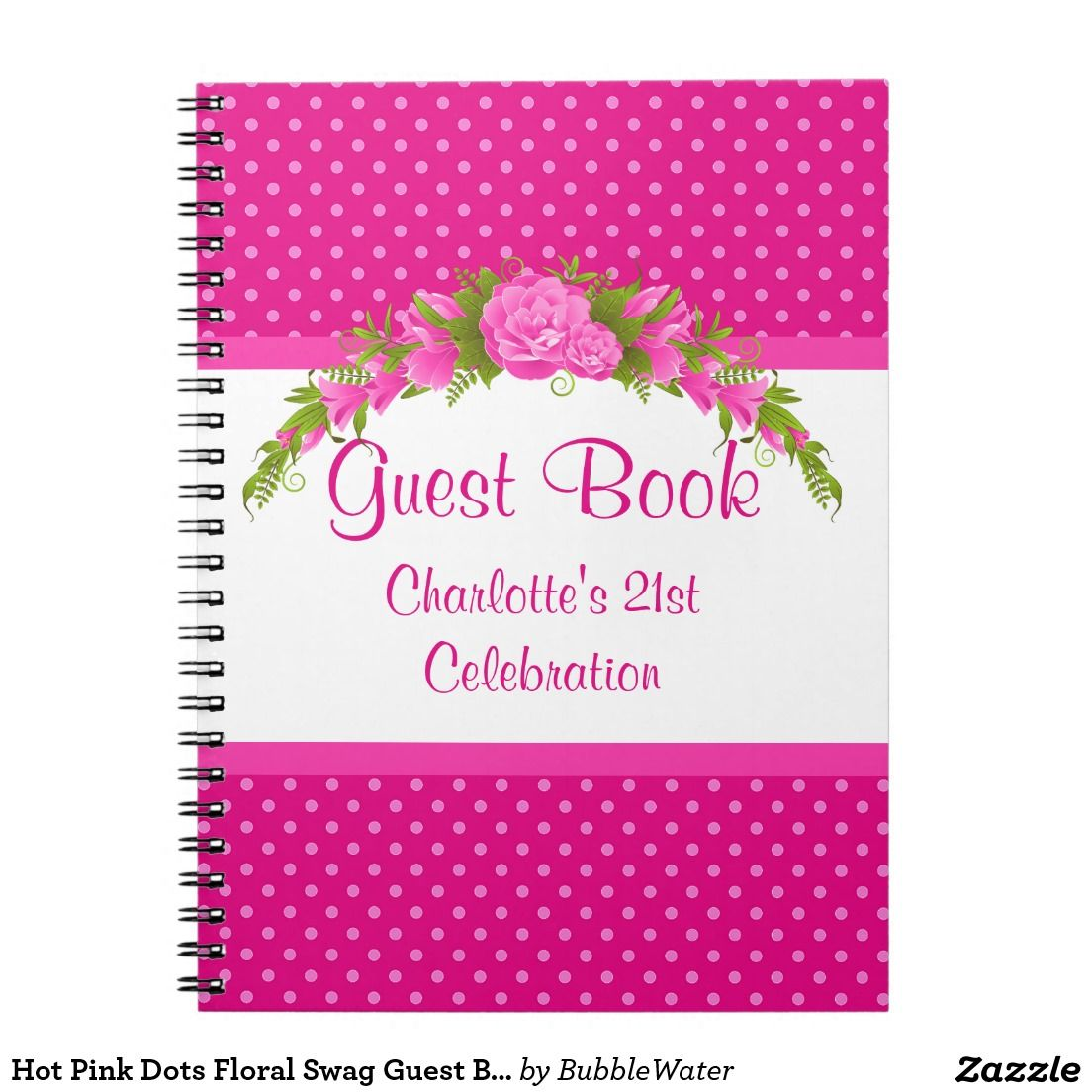 Hot Pink Dots Floral Swag Guest Book/Notebook