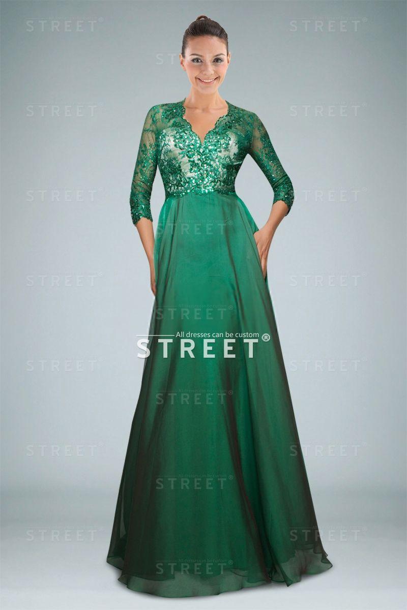 Three Quarter Sleeve Green Chiffon Mother Of The Bride Dress ...