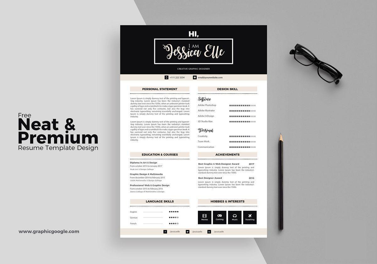 Free Neat u0026 Premium Resume Template Designu201d