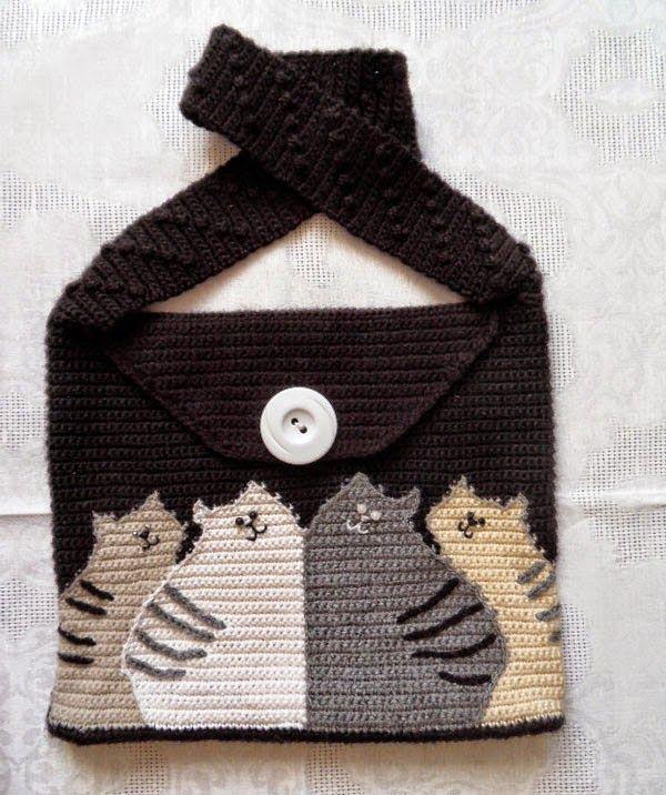 Todo crochet: Cartera con diseño de gatos | Bolsas con Gatos ...