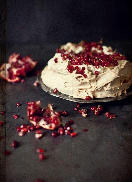 Pavlova with Christmas Berries and White Chocolate Cream