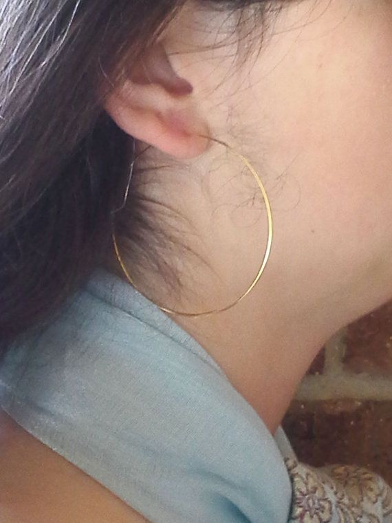 Gold Hoop Earrings 2 Inch Open Threader Wire Dangle Large Simple Modern Contemporary Whole 481